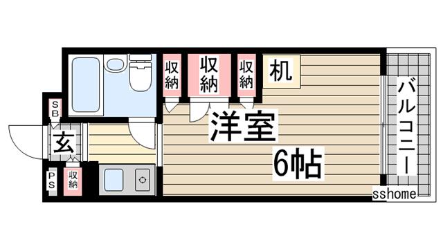 物件番号: 1123105651 プラス六甲  神戸市灘区高羽町2丁目 1K マンション 間取り図