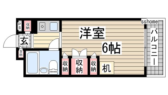 物件番号: 1123105656 プラス六甲  神戸市灘区高羽町2丁目 1K マンション 間取り図