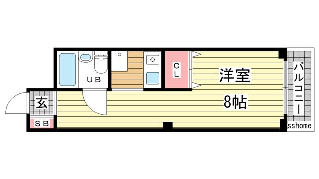 物件番号: 1123105724 メゾンドグランメール  神戸市灘区篠原本町1丁目 1R マンション 間取り図