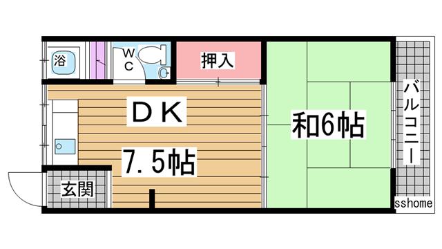 物件番号: 1123105752 青谷マンション  神戸市灘区青谷町3丁目 1DK マンション 間取り図