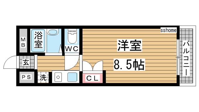 物件番号: 1123105756 萌NAKATANI  神戸市灘区赤坂通6丁目 1R マンション 間取り図
