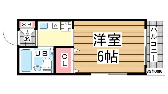 物件番号: 1123105802 サンライズ新在家  神戸市灘区友田町4丁目 1R マンション 間取り図