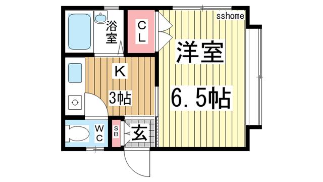 物件番号: 1123105816 シャトルシックス光  神戸市東灘区御影石町4丁目 1K ハイツ 間取り図