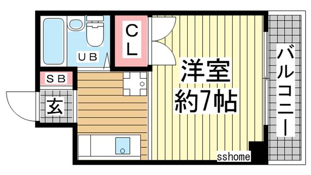 物件番号: 1123105818 ル・パレ福住  神戸市灘区福住通1丁目 1K マンション 間取り図