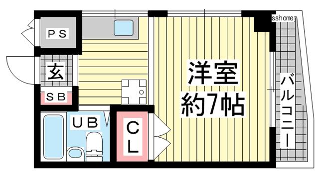 物件番号: 1123105820 ル・パレ福住  神戸市灘区福住通1丁目 1K マンション 間取り図