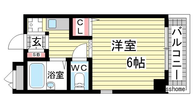 物件番号: 1123105843 サンハウス御影本町  神戸市東灘区御影本町4丁目 1K マンション 間取り図