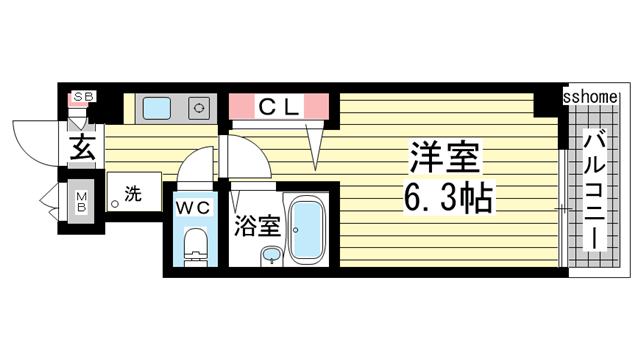 物件番号: 1123105872 アロンディア六甲  神戸市灘区友田町4丁目 1K マンション 間取り図
