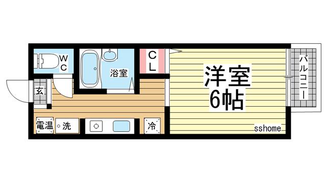 物件番号: 1123105893 西之町ハイツA  神戸市東灘区御影本町7丁目 1K アパート 間取り図