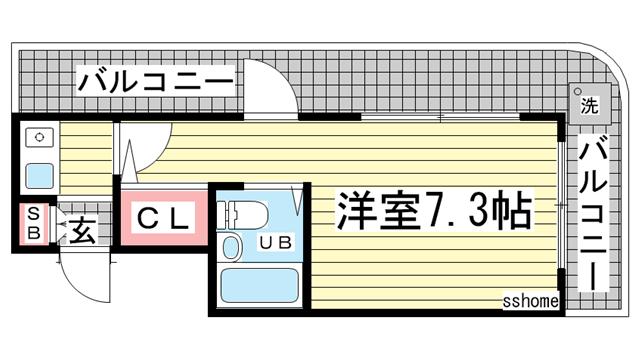 物件番号: 1123105919 ヴィラ六甲道  神戸市灘区大和町1丁目 1K マンション 間取り図