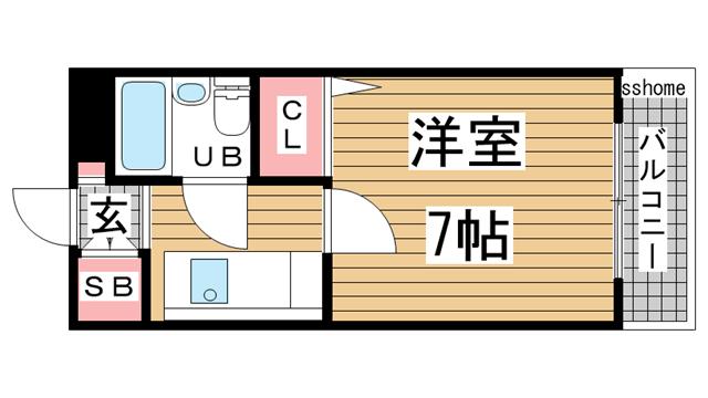 物件番号: 1123106000 アーバン本山  神戸市東灘区田中町2丁目 1K マンション 間取り図