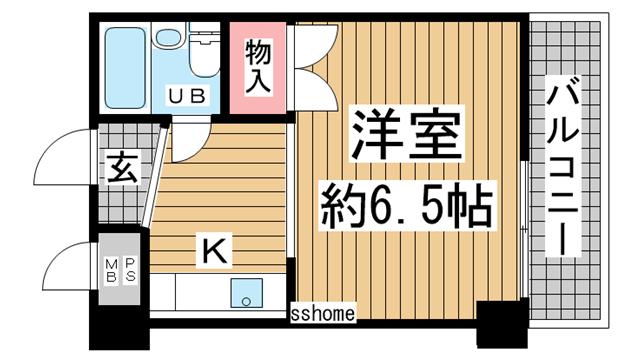 物件番号: 1123106024 ライオンズマンション石屋川  神戸市東灘区御影塚町2丁目 1R マンション 間取り図