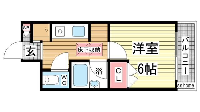 物件番号: 1123106079 ヴィラユーゲント  神戸市灘区桜ヶ丘町 1K マンション 間取り図