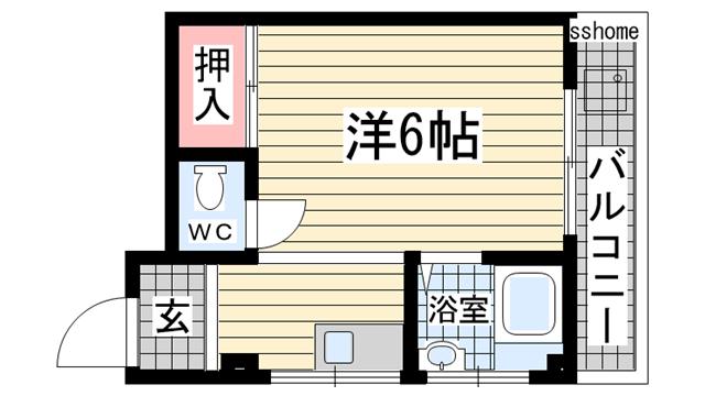 物件番号: 1123106081  神戸市灘区天城通5丁目 1DK マンション 間取り図