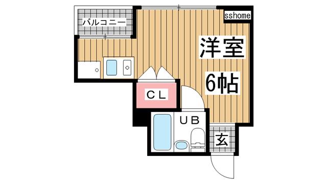 物件番号: 1123106103 ハイム御影  神戸市東灘区御影1丁目 1R マンション 間取り図