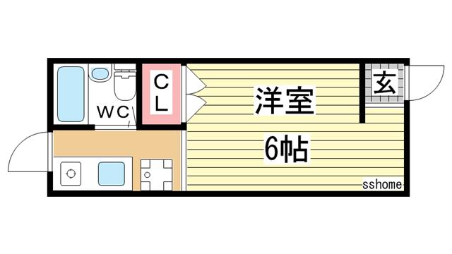物件番号: 1123106151 ビバリーハイツしのはら  神戸市灘区篠原台 1R ハイツ 間取り図
