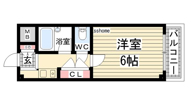 物件番号: 1123106185 パルコ御影  神戸市東灘区御影本町4丁目 1K マンション 間取り図