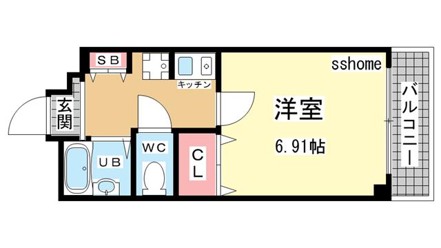 物件番号: 1123106306 ウェーブ桜ヶ丘  神戸市灘区桜ヶ丘町 1K ハイツ 間取り図