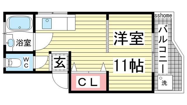 物件番号: 1123106375 といしマンション  神戸市灘区倉石通4丁目 1R マンション 間取り図