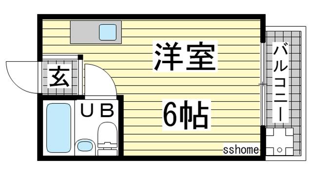 物件番号: 1123106456 神栄ハイツ  神戸市灘区篠原台 1R マンション 間取り図