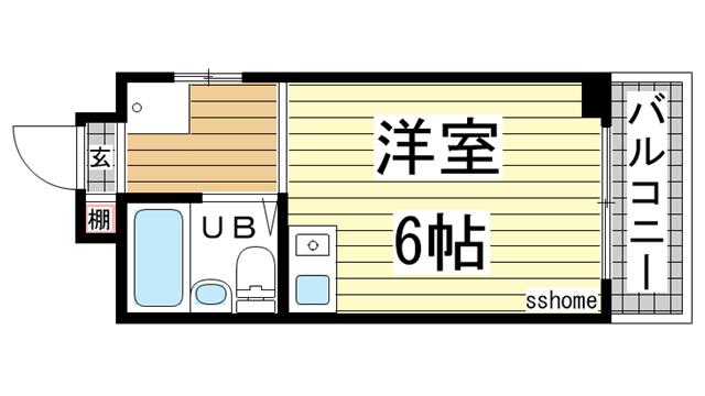 物件番号: 1123106514 ロマネスク御影  神戸市東灘区御影1丁目 1R マンション 間取り図