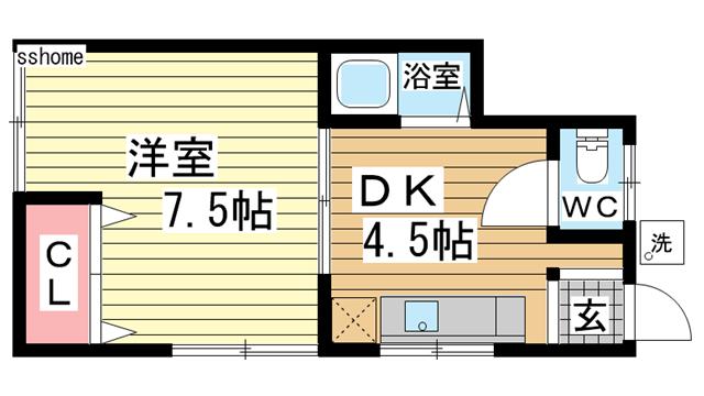 物件番号: 1123106608 前羽アパート  神戸市灘区城内通2丁目 1DK アパート 間取り図