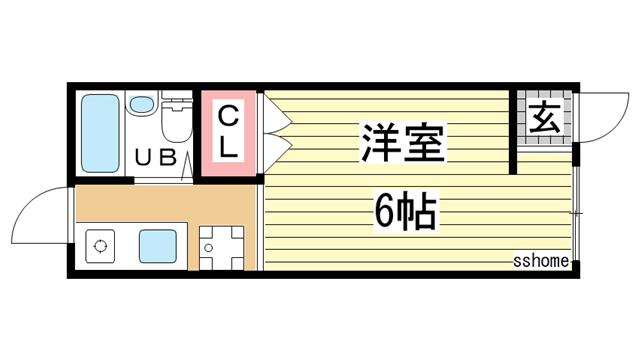 物件番号: 1123106619 ビバリーハイツしのはら  神戸市灘区篠原台 1R ハイツ 間取り図