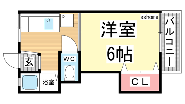 物件番号: 1123106690 カサフローラ  神戸市東灘区岡本3丁目 1K タウンハウス 間取り図