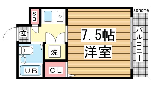 物件番号: 1123106758 スペース21本庄  神戸市東灘区本庄町1丁目 1K マンション 間取り図