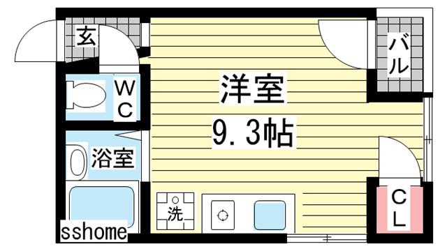 物件番号: 1123106763 ブライト御影  神戸市東灘区御影中町1丁目 1R マンション 間取り図