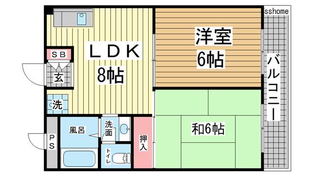 物件番号: 1123106801 パレグレィス・ヒエダ  神戸市灘区大内通5丁目 2LDK マンション 間取り図