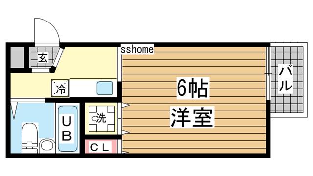 物件番号: 1123106861 ヴィラグレイス  神戸市東灘区岡本4丁目 1R マンション 間取り図