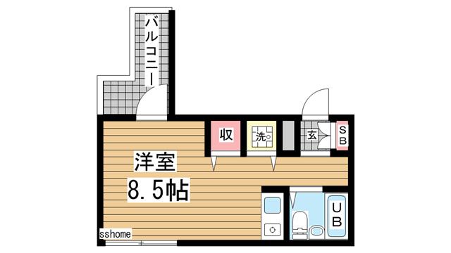 物件番号: 1123106916 ロイヤルメゾン御影Ⅶ  神戸市東灘区御影本町6丁目 1R マンション 間取り図