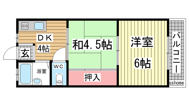 物件番号: 1123106993 パール六甲  神戸市灘区鶴甲3丁目 2DK マンション 間取り図