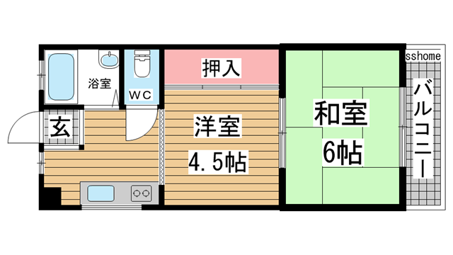 物件番号: 1123107016 パール六甲  神戸市灘区鶴甲3丁目 2DK マンション 間取り図