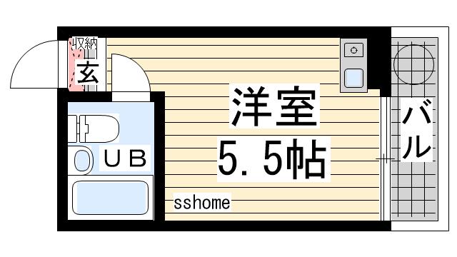 物件番号: 1123107062 岡本ビラ  神戸市灘区篠原台 1R マンション 間取り図