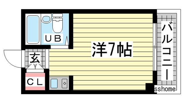物件番号: 1123107299 サンビレッジ北須磨  神戸市須磨区多井畑東町 1R マンション 間取り図
