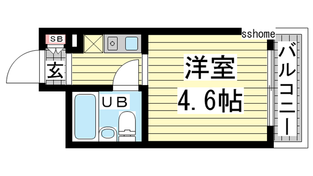 物件番号: 1123107305 ライフピアモア六甲  神戸市灘区楠丘町6丁目 1R マンション 間取り図