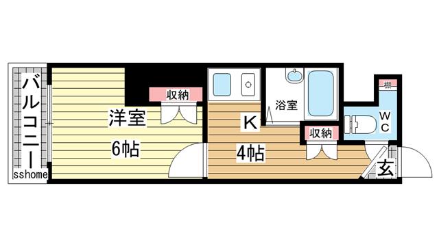 物件番号: 1123107366 ヴィヴァント青木  神戸市東灘区青木2丁目 1K マンション 間取り図