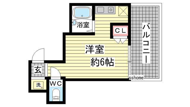 物件番号: 1123107371 六甲ガーデンホームズ  神戸市灘区篠原台 1R マンション 間取り図