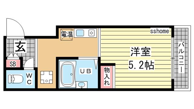 物件番号: 1123107485 ロイヤルイン六甲  神戸市灘区将軍通2丁目 1R マンション 間取り図