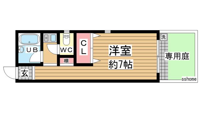 物件番号: 1123107488 サニーヒル六甲  神戸市灘区曾和町1丁目 1R マンション 間取り図