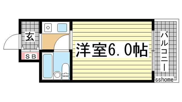 物件番号: 1123107565 メゾン・ド・六甲パートⅠ  神戸市灘区上河原通3丁目 1R マンション 間取り図