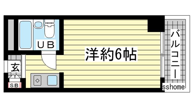 物件番号: 1123107566 メゾン・ド・六甲パートⅠ  神戸市灘区上河原通3丁目 1K マンション 間取り図