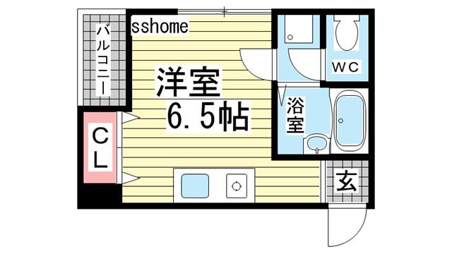 物件番号: 1123107609 シャトー璃美  神戸市灘区岸地通4丁目 1K マンション 間取り図