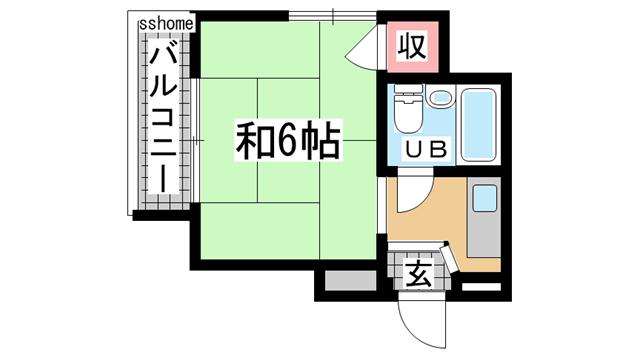 物件番号: 1123107872 パーソナルハイツ御影  神戸市東灘区御影中町1丁目 1DK マンション 間取り図