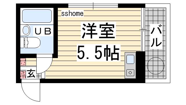 物件番号: 1123107914 岡本ビラ  神戸市灘区篠原台 1R マンション 間取り図