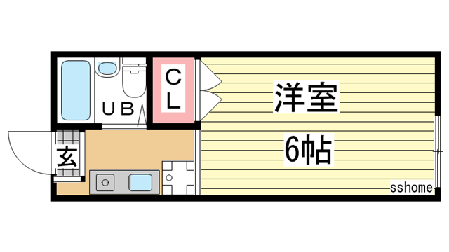 物件番号: 1123107915 ビバリーハイツしのはら  神戸市灘区篠原台 1R ハイツ 間取り図