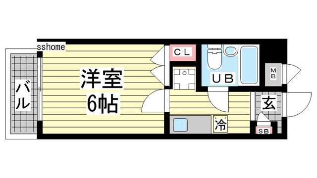物件番号: 1123108055 ライオンズマンション六甲道  神戸市灘区友田町4丁目 1K マンション 間取り図